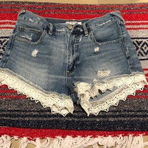 Free People Lace detailed denim shorts